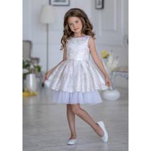 Платье нарядное белого цвета с золотой вышивкой Рошель