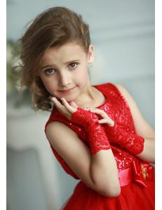 Митенки красные кружевные на девочку Незнакомка (3-7 лет)
