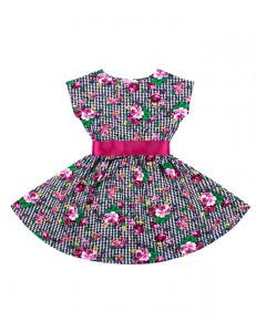 """Платье для девочек с розами на гусиных лапках """"летний блюз"""""""