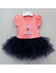 """Платье нарядное розово-синего цвета для девочки с надписями """"День рождения"""""""