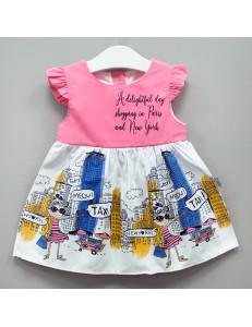"""Платье для малышек розовое с коротким рукавом """"Нью Йорк"""""""