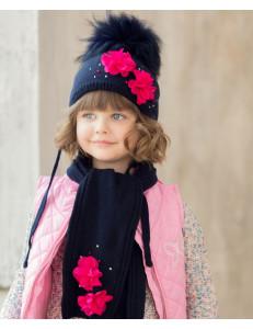 "Комплект синий шапка зимняя с шарфом ""Вивьен"""