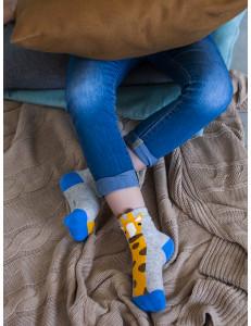 """Носки модные для мальчиков серо-желтого цвета """"Жираф"""""""