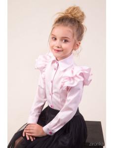 "Блузка розового цвета с двойным воланом на рукаве ""Бабочка"""
